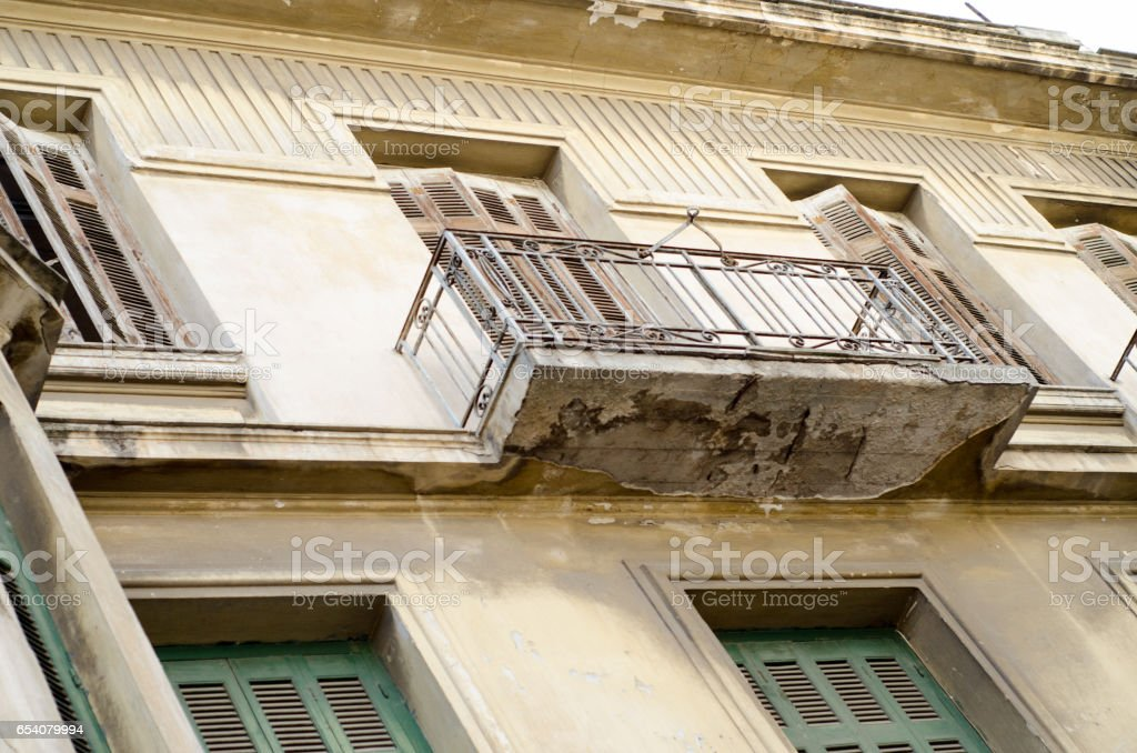 balcony with wooden shutters stock photo