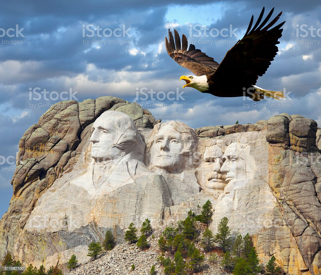 Bald Eagle Soars with Mt. Rushmore in Background stock photo