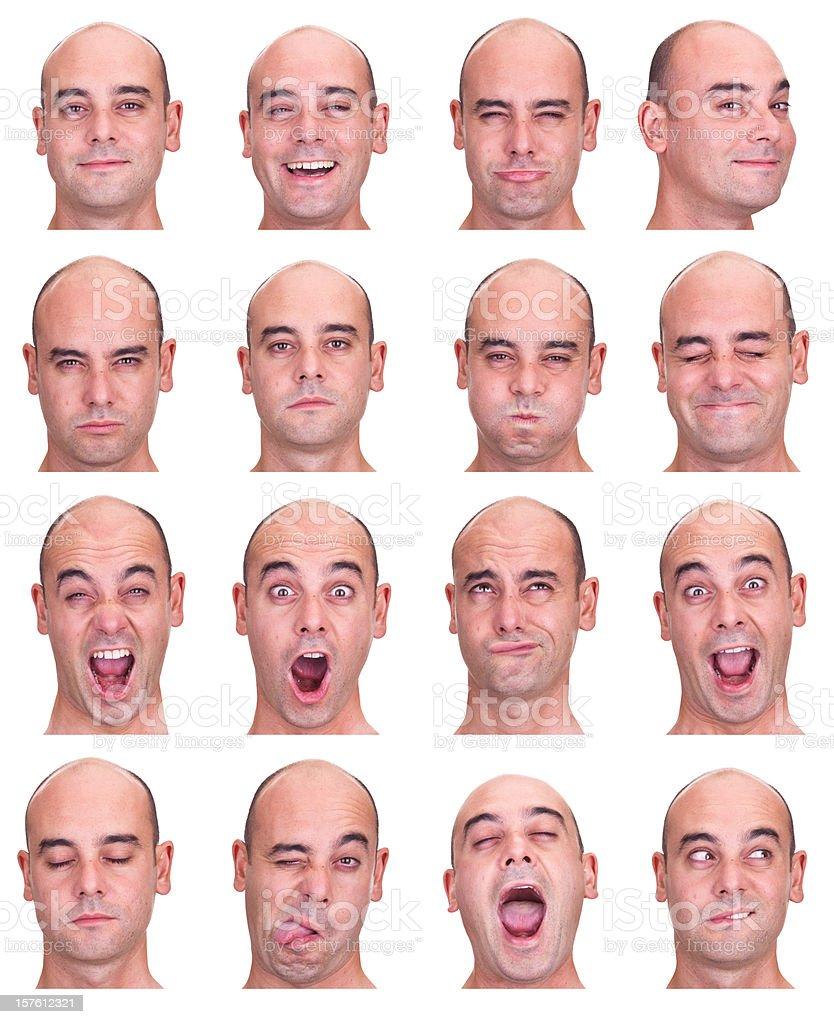 bald eye socket man emotion expression collection set white isol stock photo