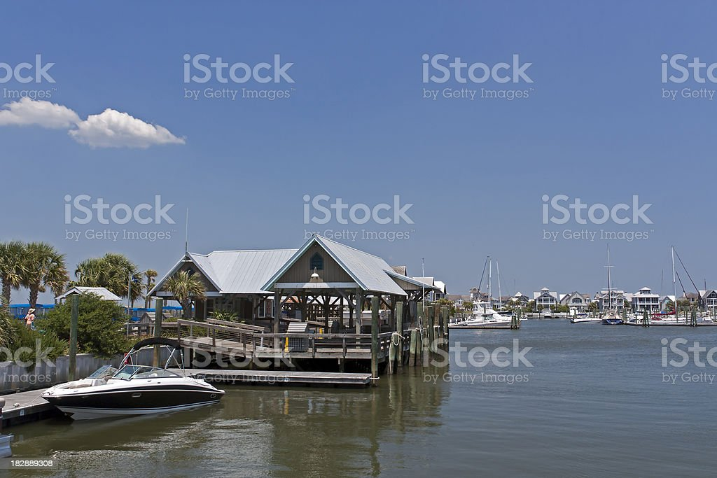 Bald Head Island Harbor stock photo