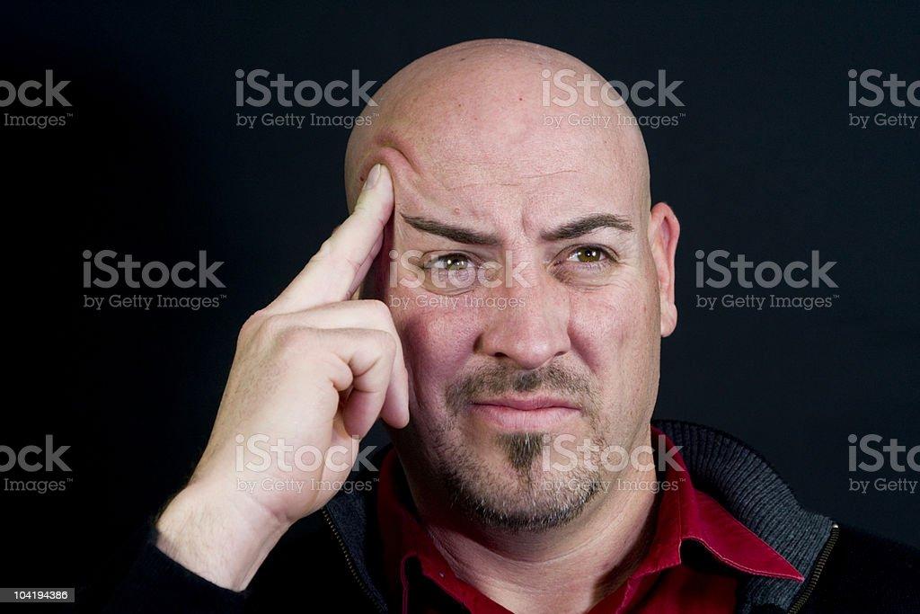 Bald Man Thinking royalty-free stock photo