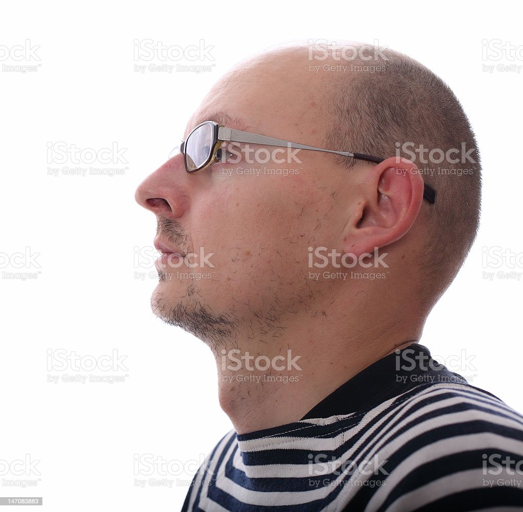bald men in profile royalty-free stock photo