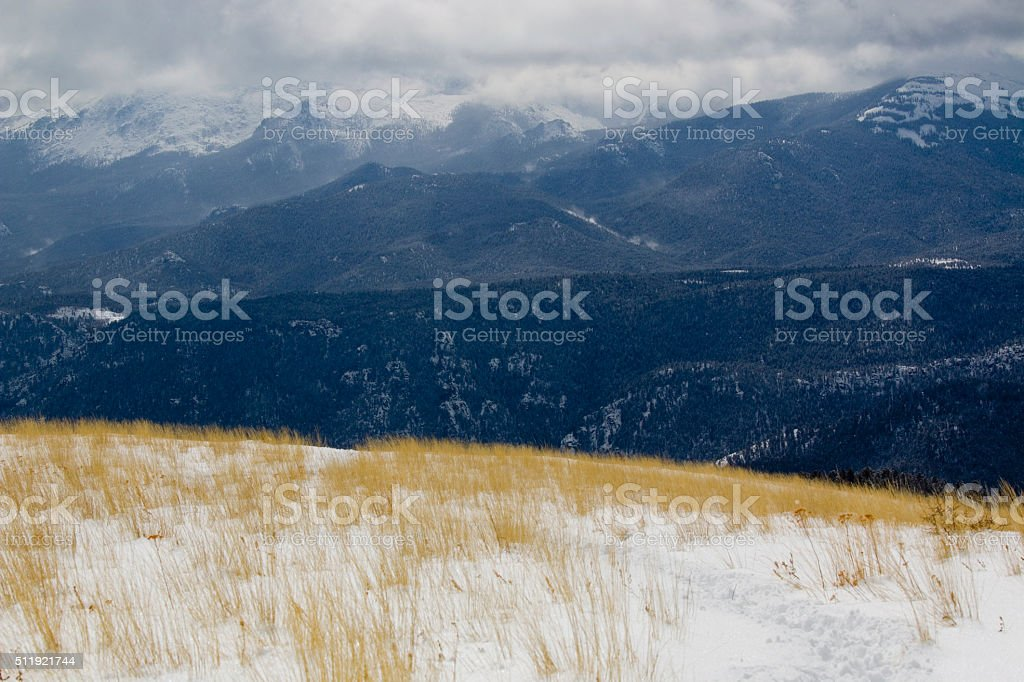 Bald Mountain and Storm Clouds on Pikes Peak Colorado stock photo