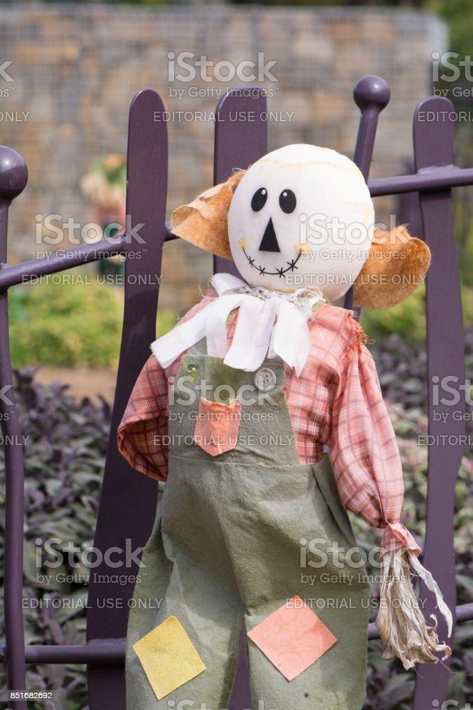 Bald Scarecrow, Kitchen Garden, Adelaide Botanic Garden stock photo