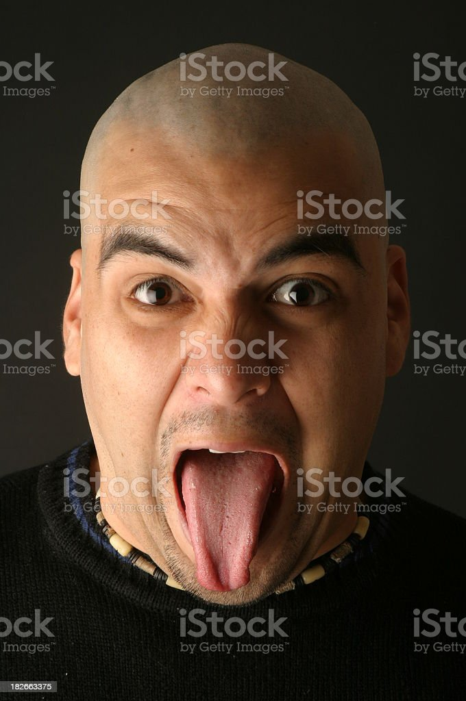 bald with tounge out. royalty-free stock photo