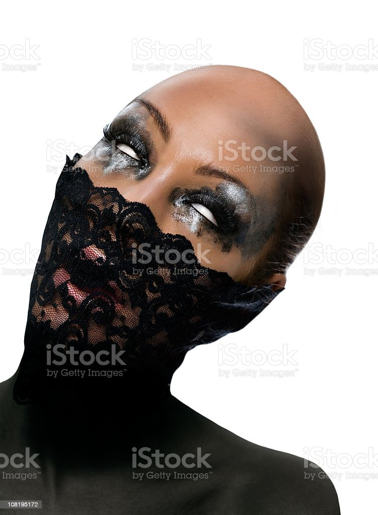 Bald Woman with Eyes Rolled Back in Head stock photo
