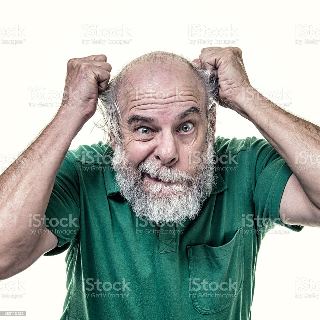 Balding Frustrated Senior Business Man Tearing His Hair Out stock photo