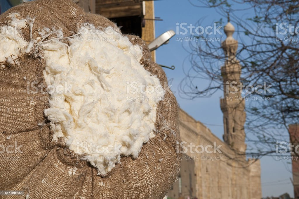 Bale of cotton in Cairo, Egypt stock photo