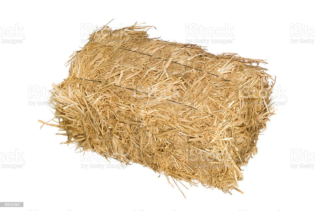 Bale of hay isolated on white stock photo