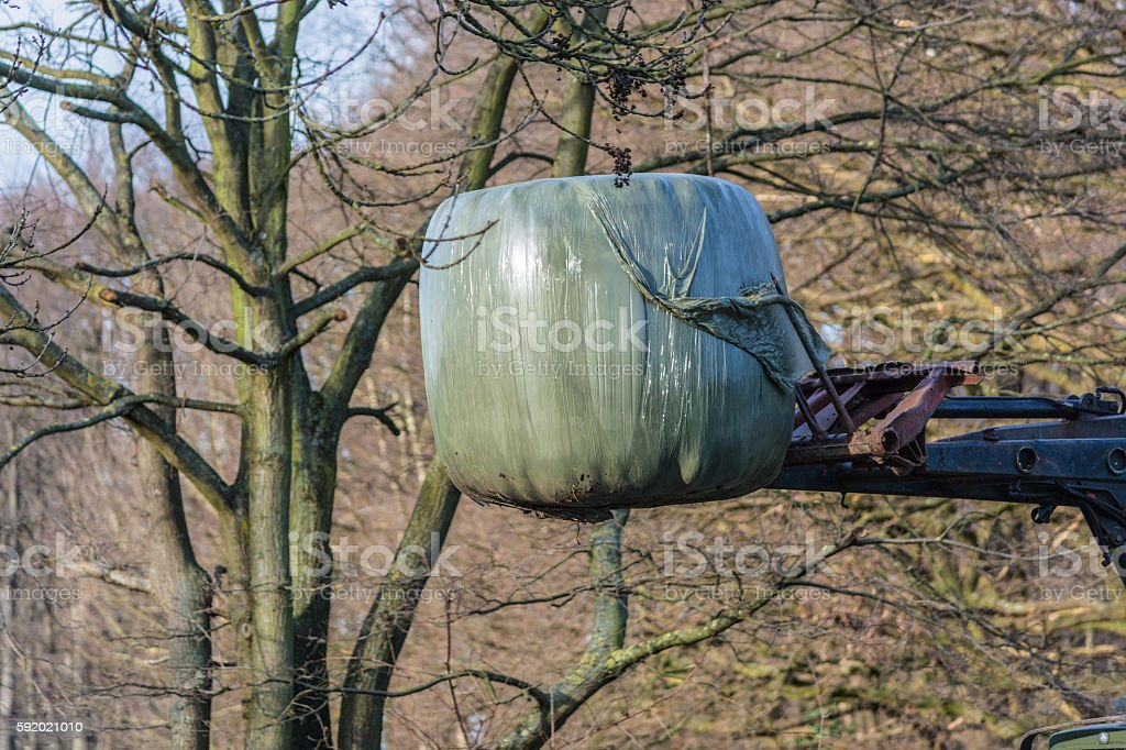 Bale of hay transport with an old farm machine. stock photo