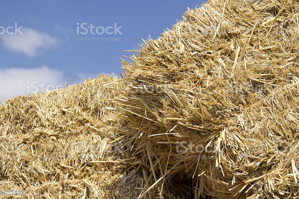 Bale of straw against blue sky royalty-free stock photo