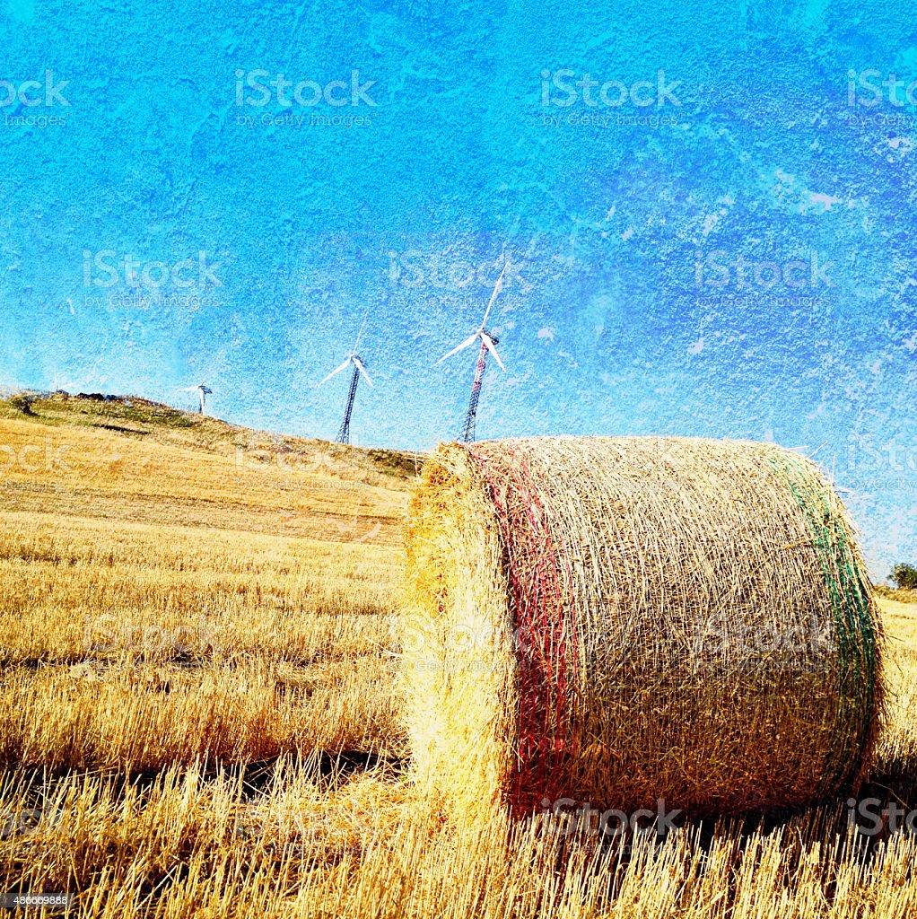 Bale, wind turbines. Texture. stock photo