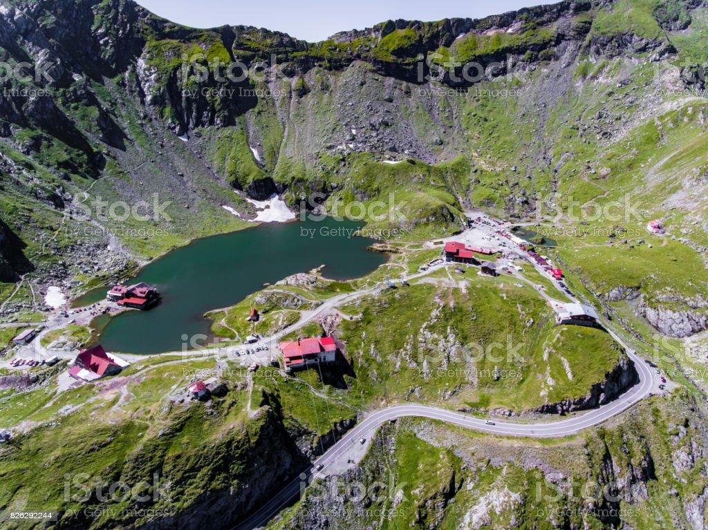 Balea Lake on Transfagarasan near Sibiu Romania stock photo