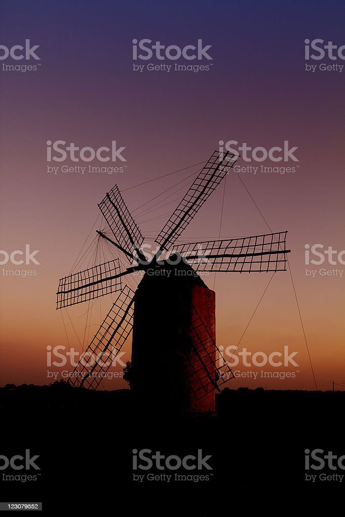 balearic islands windmill wind mill sunset in Formentera stock photo