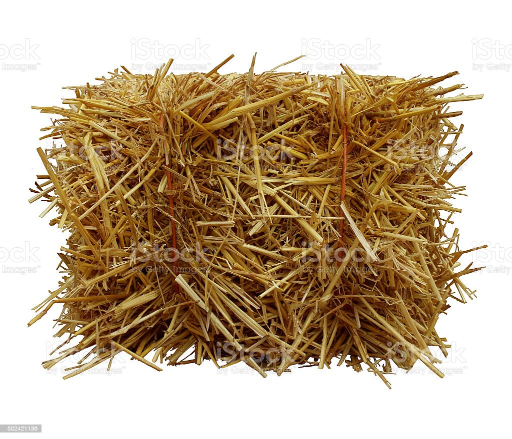 Bale-Of-Hay-Front-View stock photo