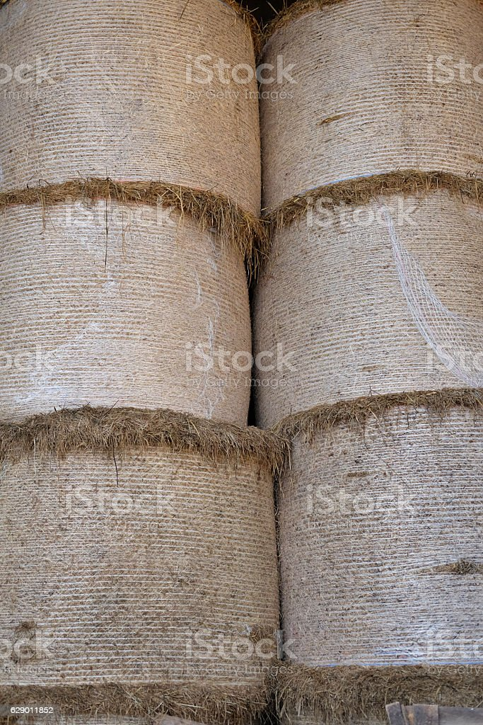 bales of hay in the barn royalty-free stock photo