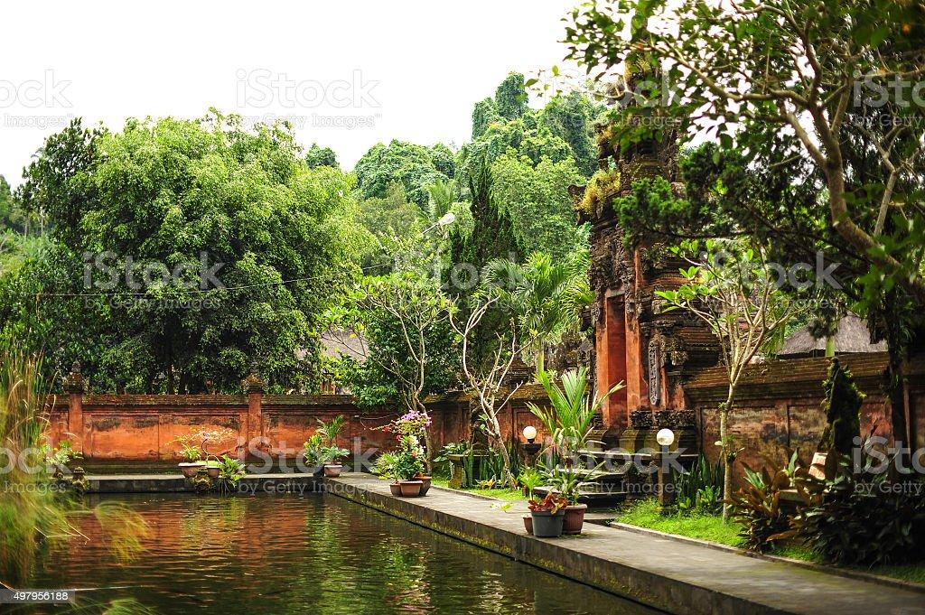 Bali garden and pond stock photo