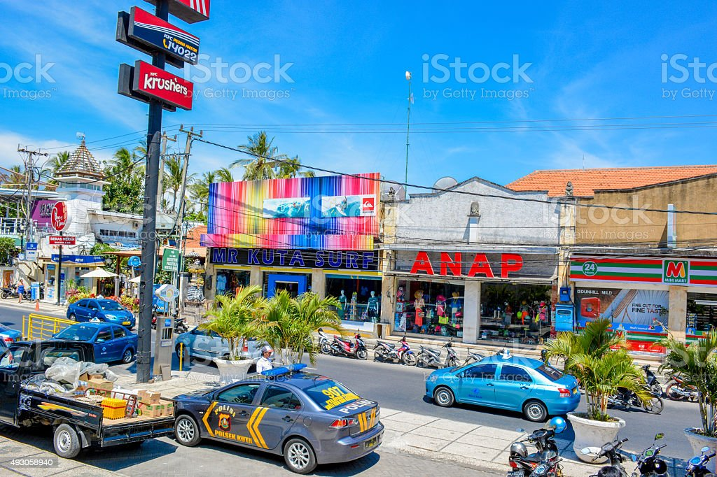 Bali Kuta town stock photo