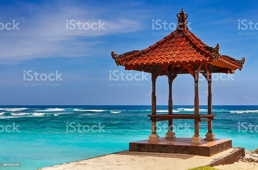 Bali sacred place on a sandy beach. Beautiful landscape. stock photo