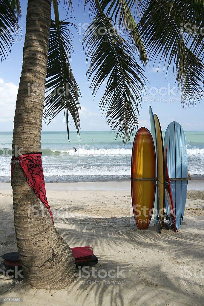 bali surf boards kuta beach indonesia royalty-free stock photo