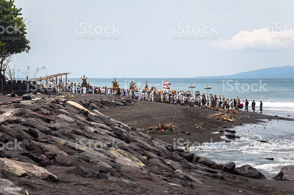Balinese ceremony on the beach in Bali stock photo