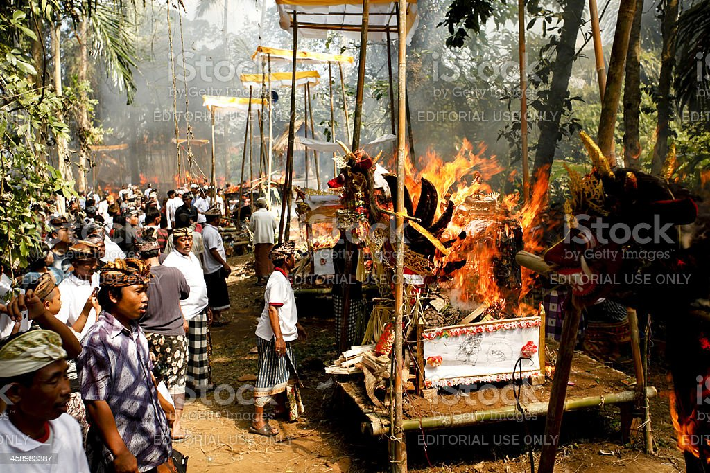 Balinese Cremation Bali Indonesia stock photo