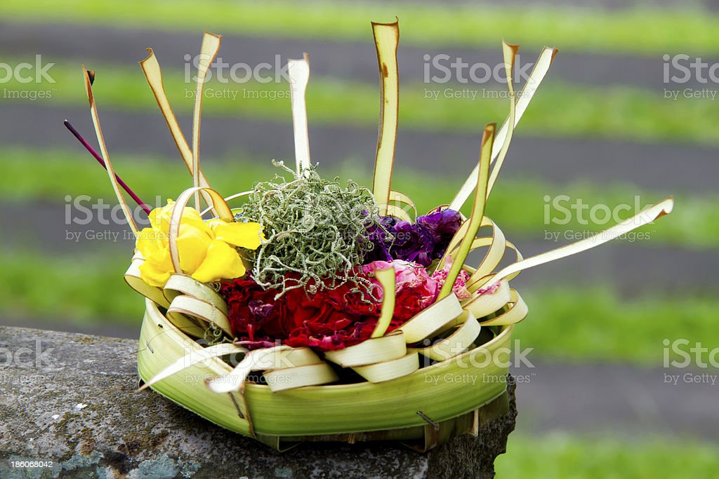 Balinese cremation ceremony offerings royalty-free stock photo