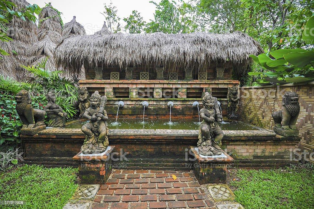 balinese fountain stock photo