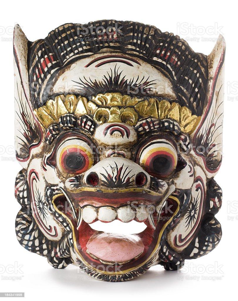 Balinese Hindu Barong mask isolated on a white background royalty-free stock photo