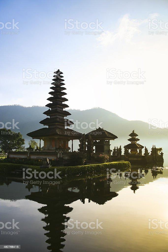 balinese lake temple dawn bali indonesia royalty-free stock photo