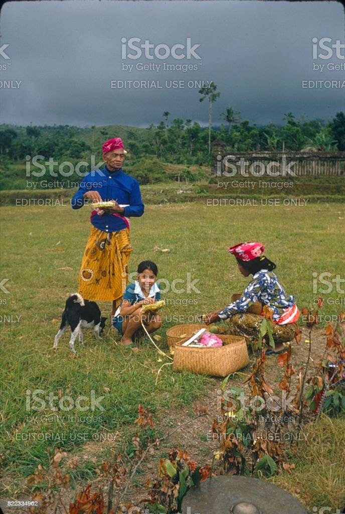 Balinese peasant family, 1972 stock photo