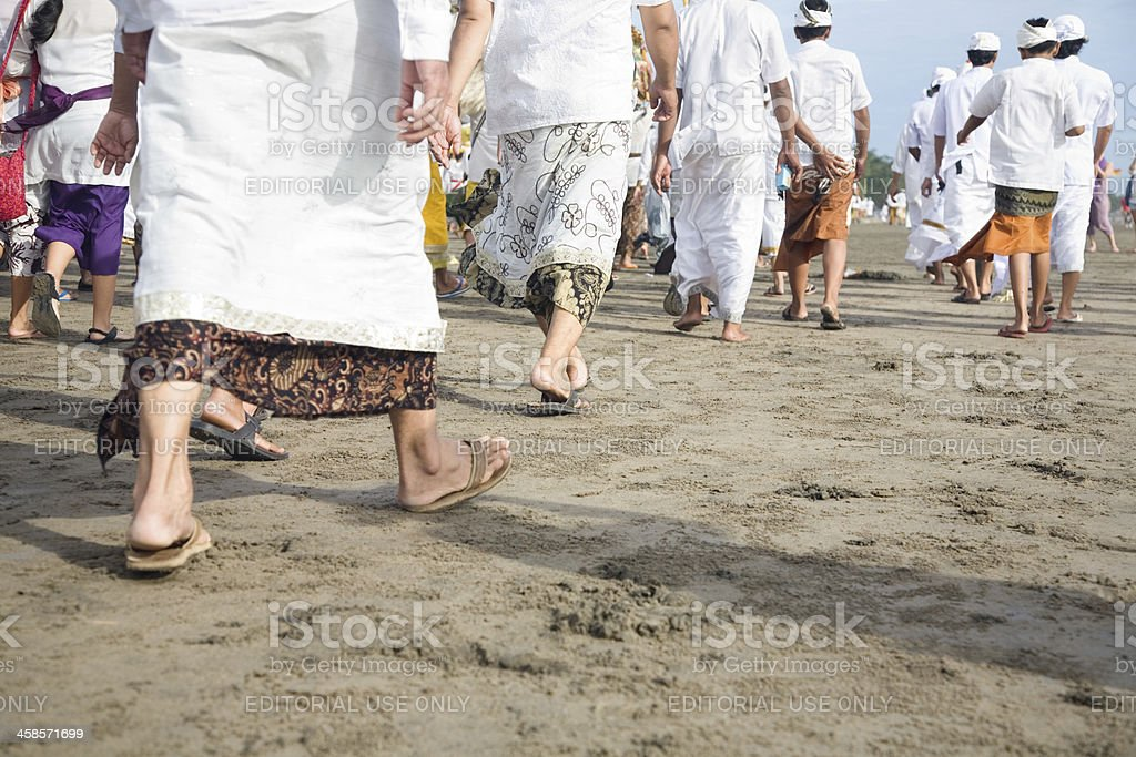 Balinese people on the beach stock photo