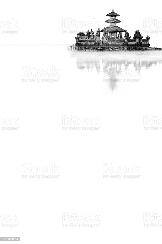 Balinese Temple In The Lake stock photo