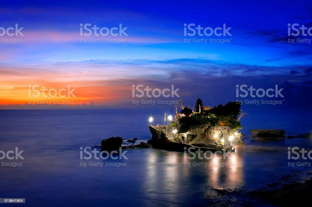 Balinese Temple In The Sunset stock photo
