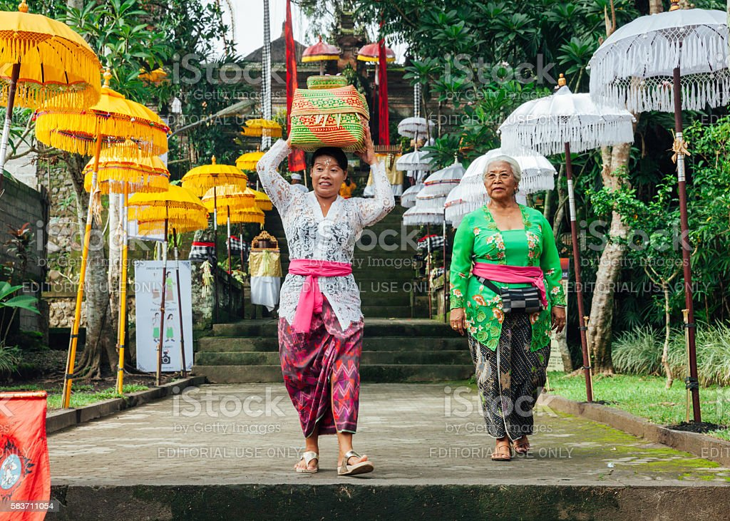 Balinese women in traditional clothes stock photo