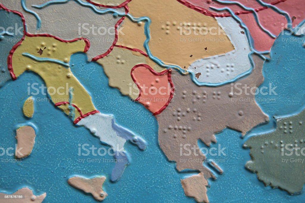 Balkan Braille Map stock photo