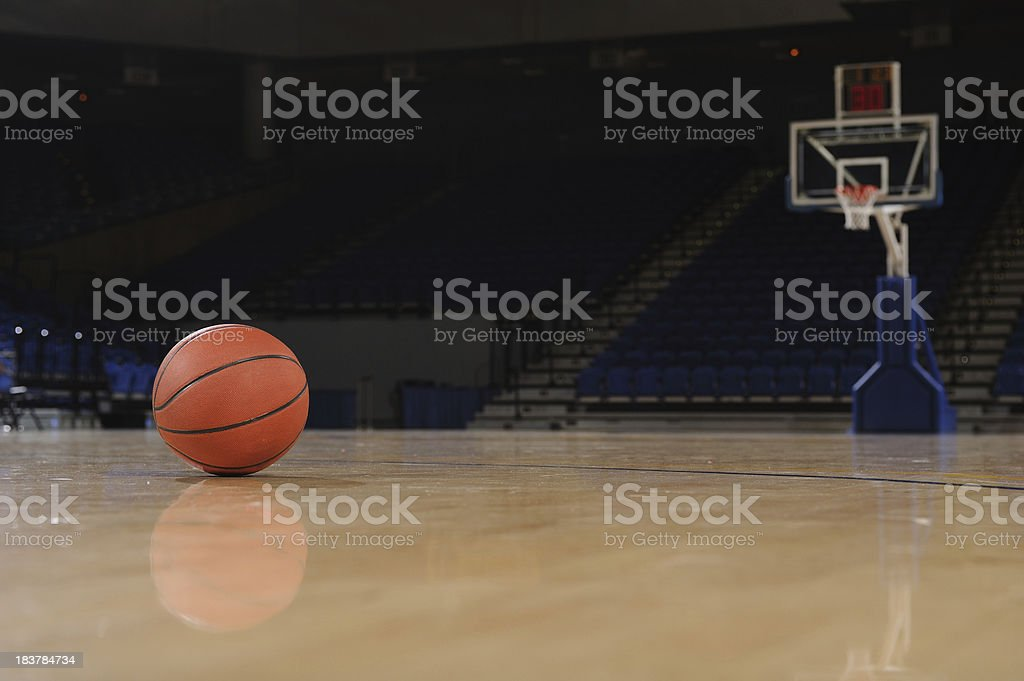 Ball and Basketball Court royalty-free stock photo