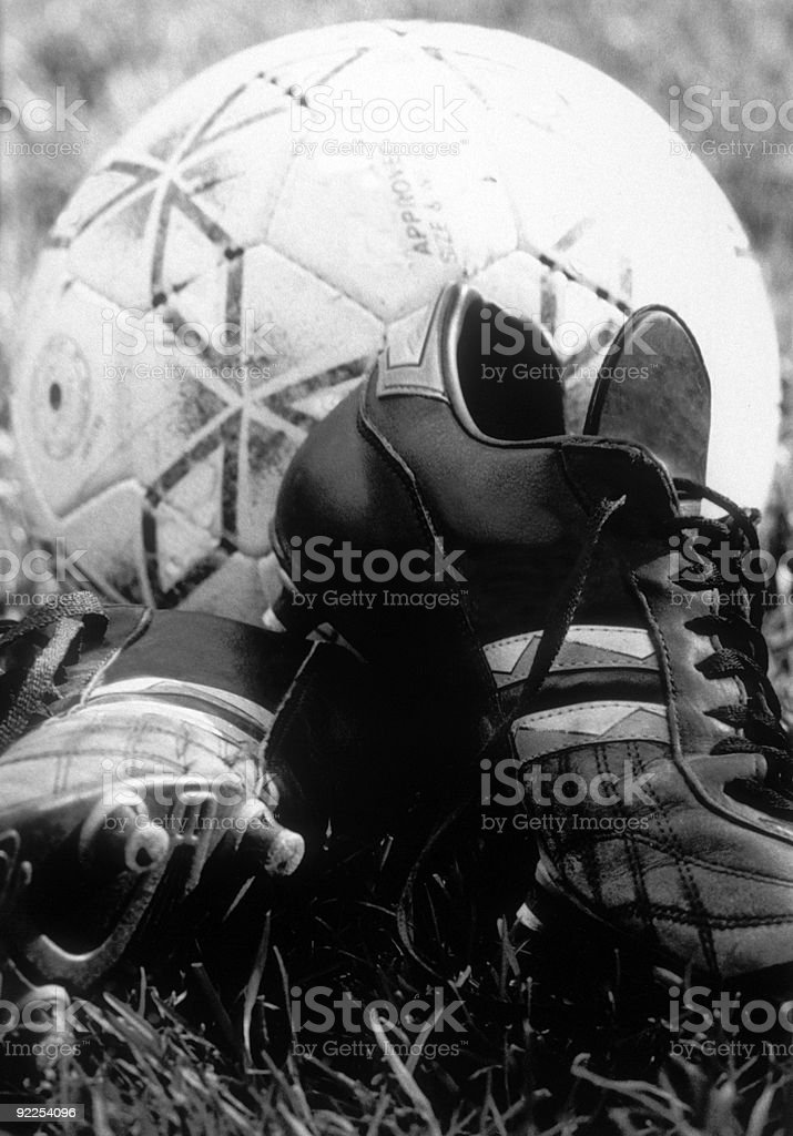 ball and boots stock photo