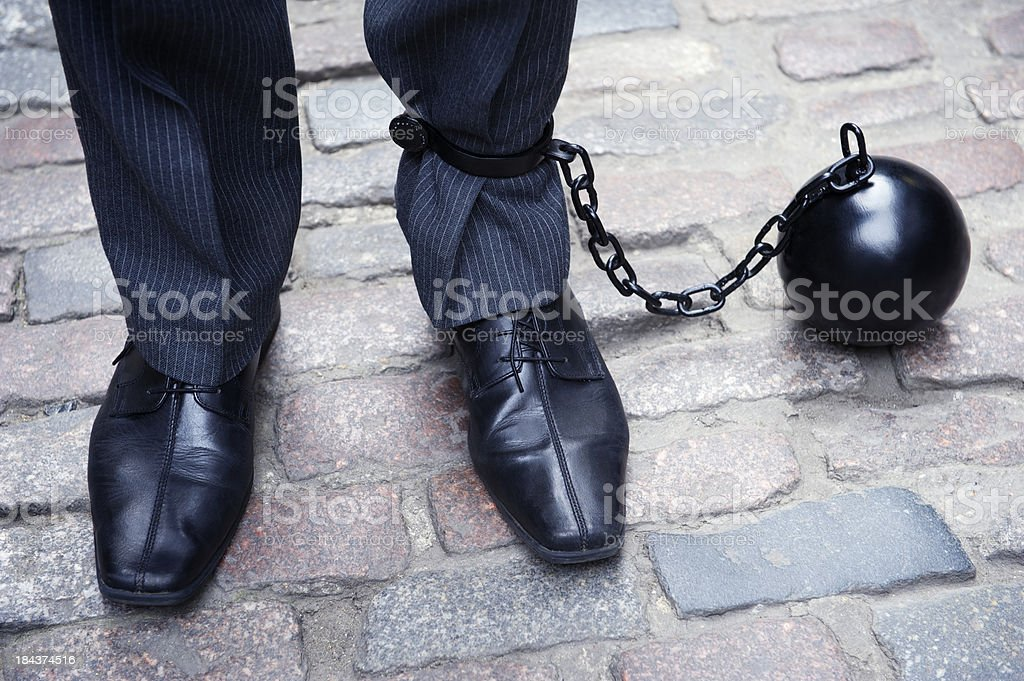 Ball and Chain Businessman Feet Close-Up stock photo