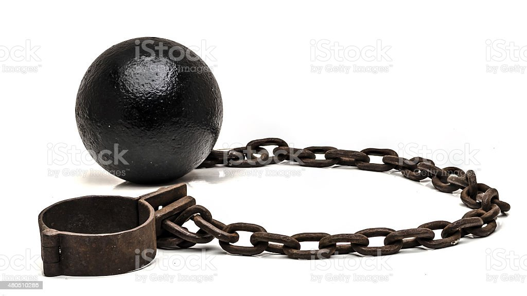 Ball and chain on white background stock photo