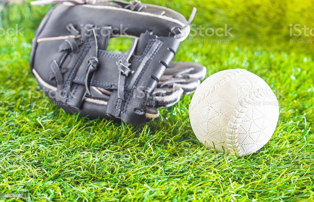ball and glove stock photo