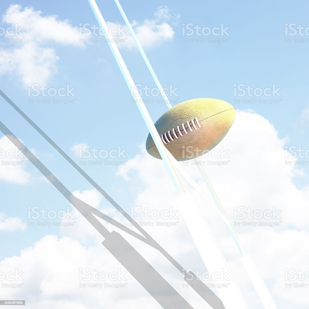 Ball and Goal posts for rugby at sky. stock photo