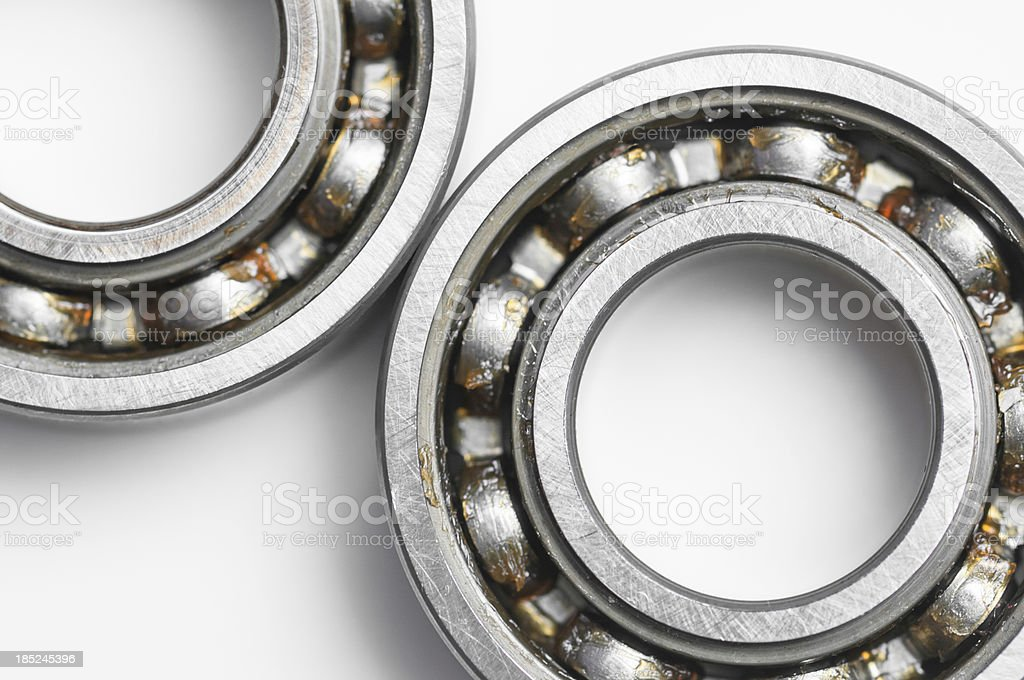 Ball bearing over white background stock photo