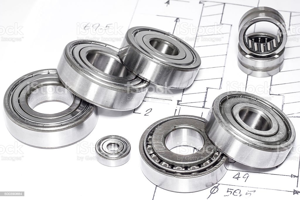 Ball bearings and Technical drawings stock photo