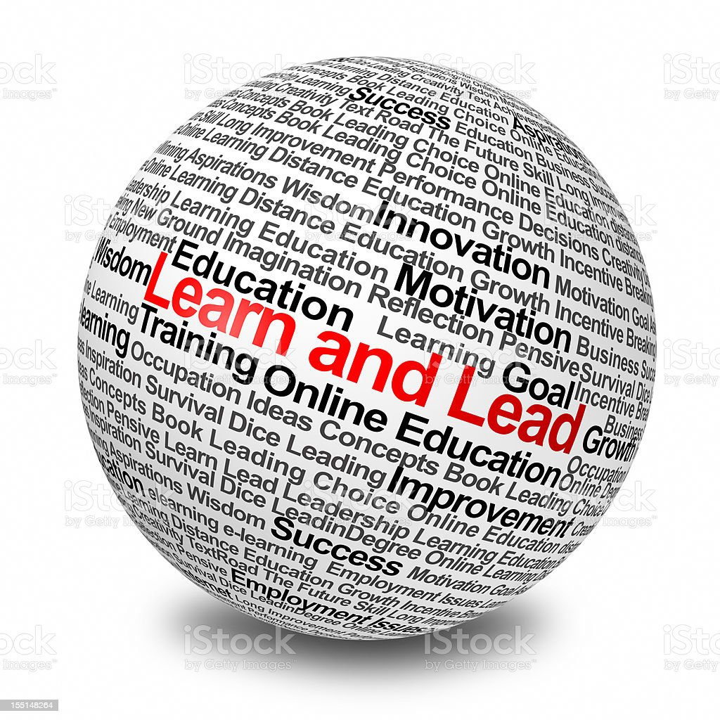 Ball covered in education and inspiration words royalty-free stock photo
