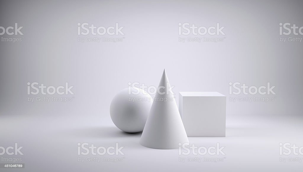 Ball, cube and cone royalty-free stock photo