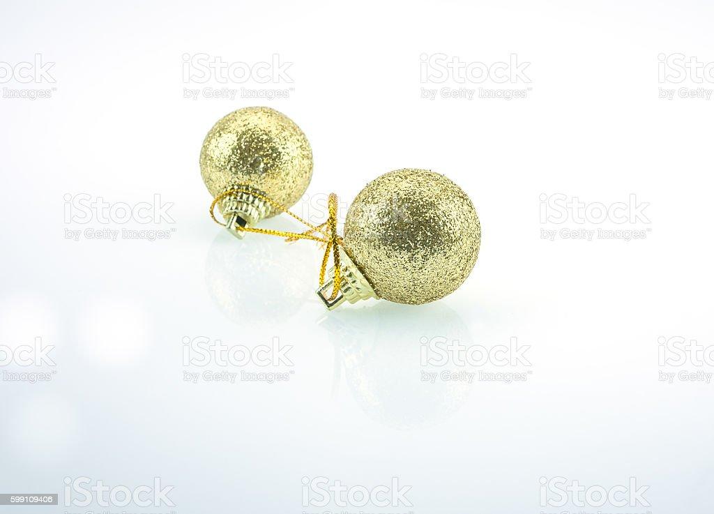 Ball gold christmas on white background, stock photo