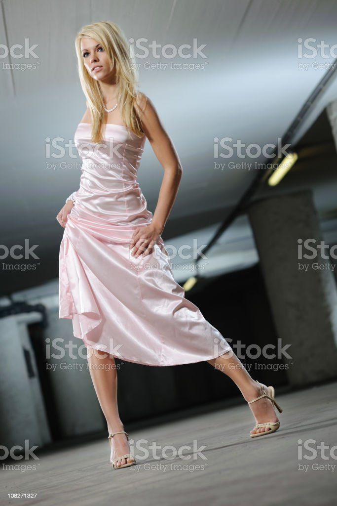 Ball Gown - Woman with long blond hair stock photo