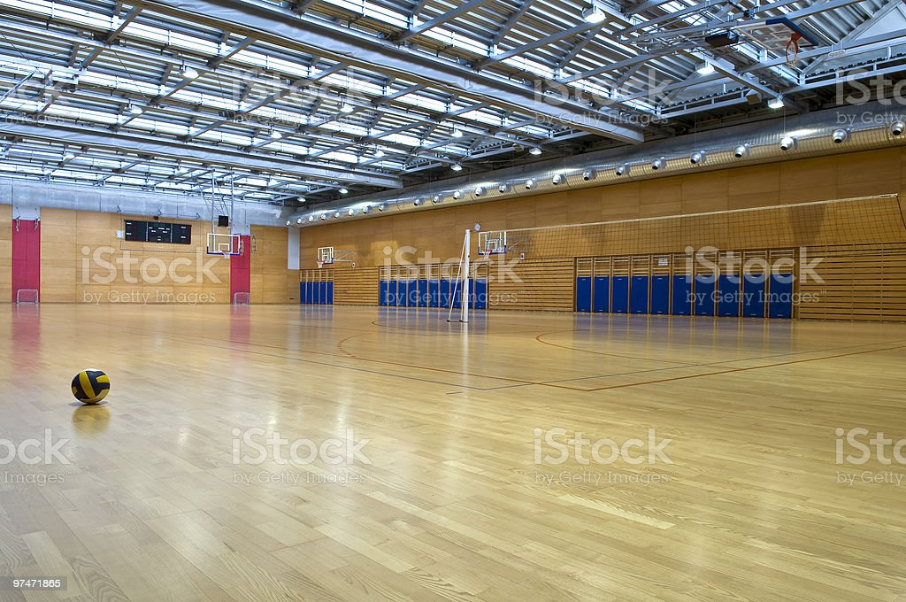Ball in Empty Big Sports Hall royalty-free stock photo