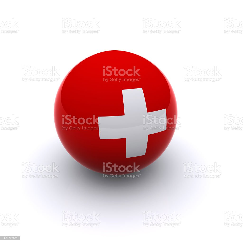 3D Ball in red and white Swiss flag royalty-free stock photo